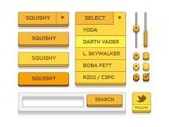 黄色立体网页UI素材