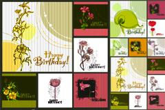 时尚淡雅手绘花卉背景矢量图素材