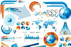 蓝色系和橙色系信息图表矢量素材