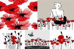 潮流时尚花卉矢量图素材
