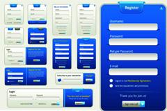 蓝白色调注册登录框矢量素材