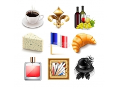 9个法国生活相关元素矢量素材